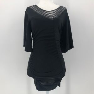 Arden B Black Fitted Dressy Top with flowy sleeves